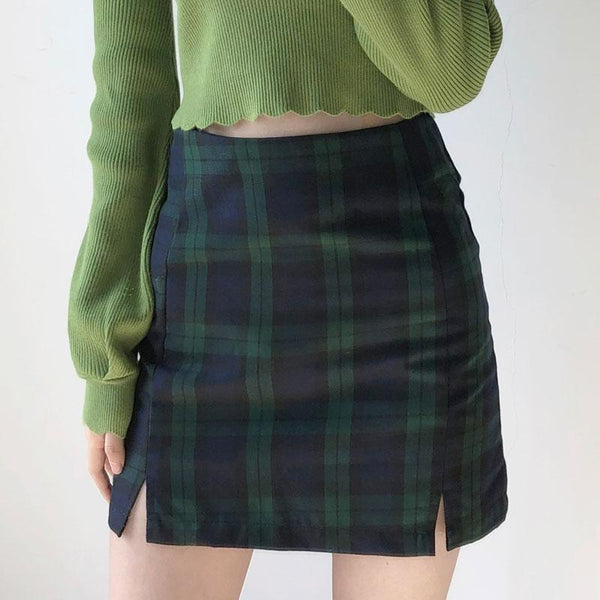 Wolfie Plaid Mini Skirt