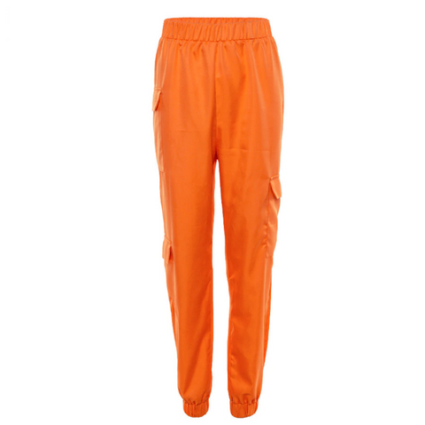 Orange Pocket Detailed Shell Joggers