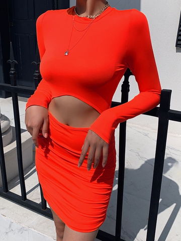 Red Cut Out Ruched Bottom Bodycon Dress