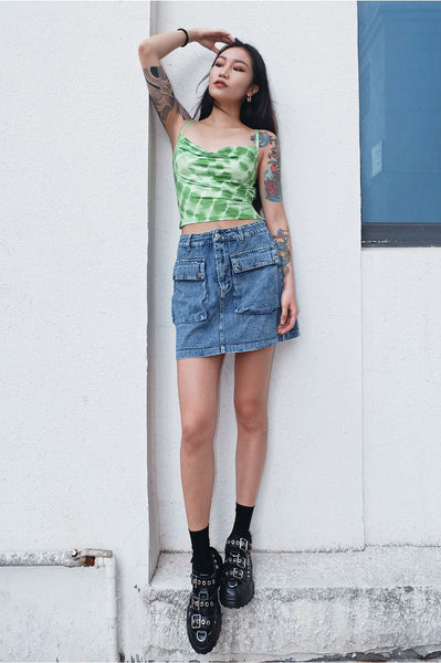 Lime Tie Dye Lace Up Crop Top