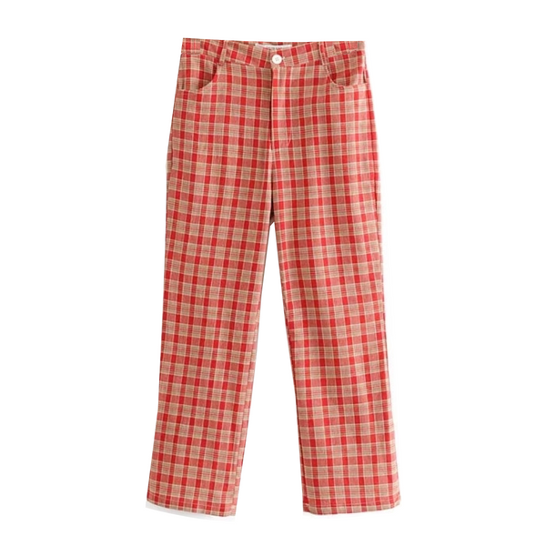 Red Plaid Trousers