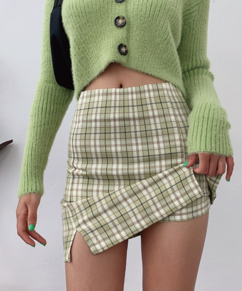 Wolfie Front Splits Mini Skirt In Lime