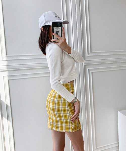 Wolfie Front Splits Mini Skirt In Yellow