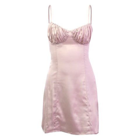 Pink Silk Ruched Bust Mini Dress
