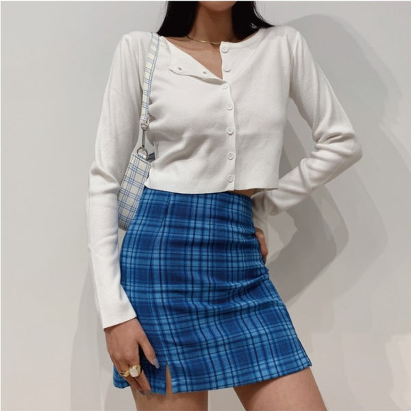 Wolfie Blue Plaid Mini Skirt
