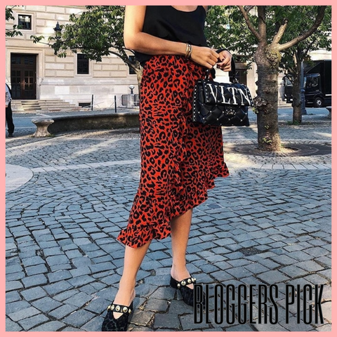 Red Leopard Print Wrap Midi Skirt