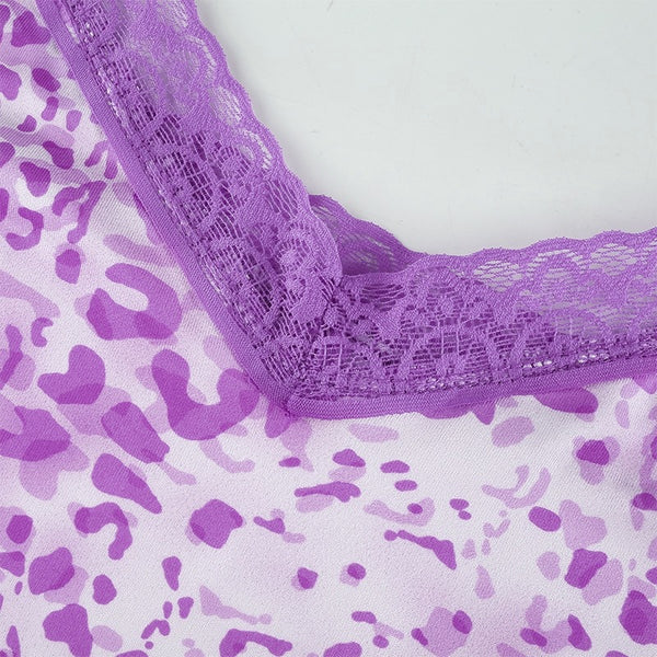 Purple Leopard Print Lace Trim Tank Top