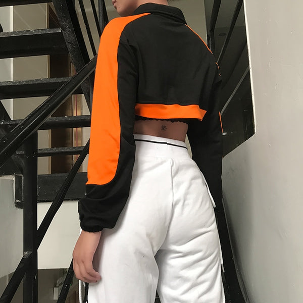 Orange & Black Zip Down Crop Top