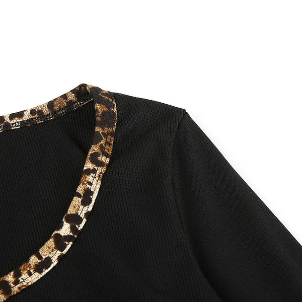 Black Wild Leopard Button Up Top