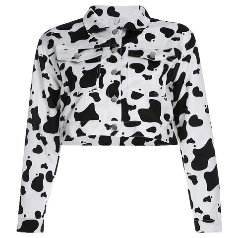 Cow Print Button Down Jacket