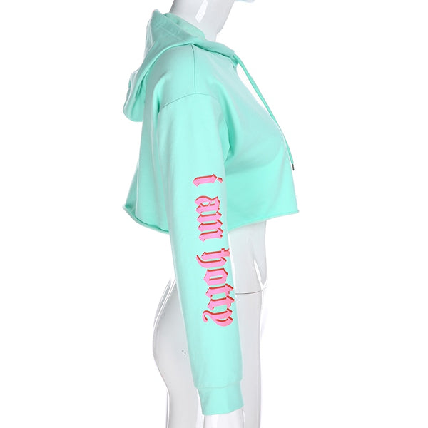Candy I Am Hotty Slogan Cropped Hoodie