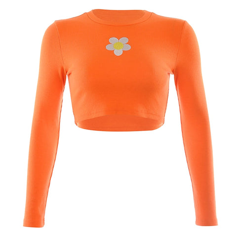 Orange Daisy Crop Shirt