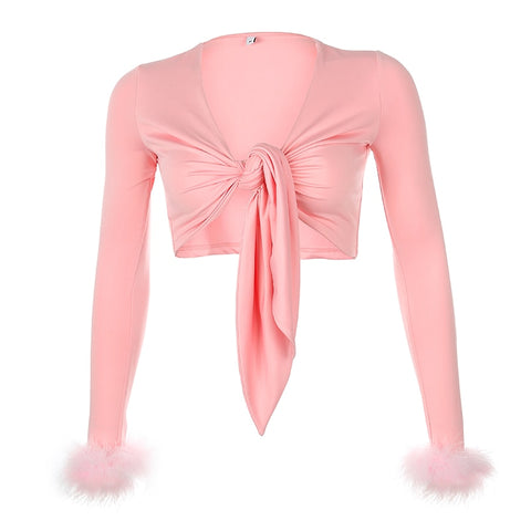 Mellow Pink Fuzzy Sleeves Crop Top