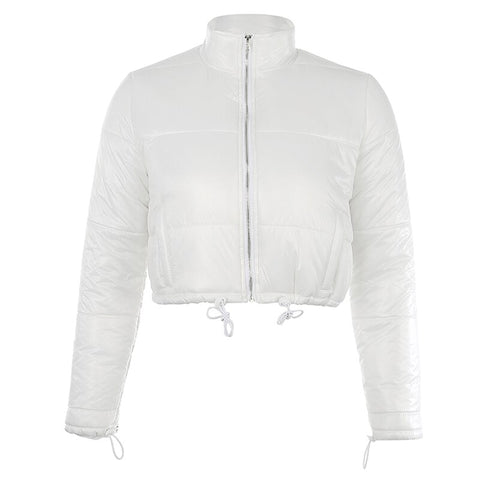 White Toggle Cuffed Jacket
