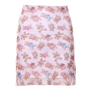 Cute Teddy Bear Mesh Overlay Mini Skirt