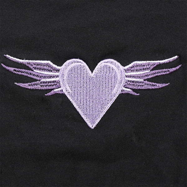 Lilac Heart & Wings Mesh Sleeve Top