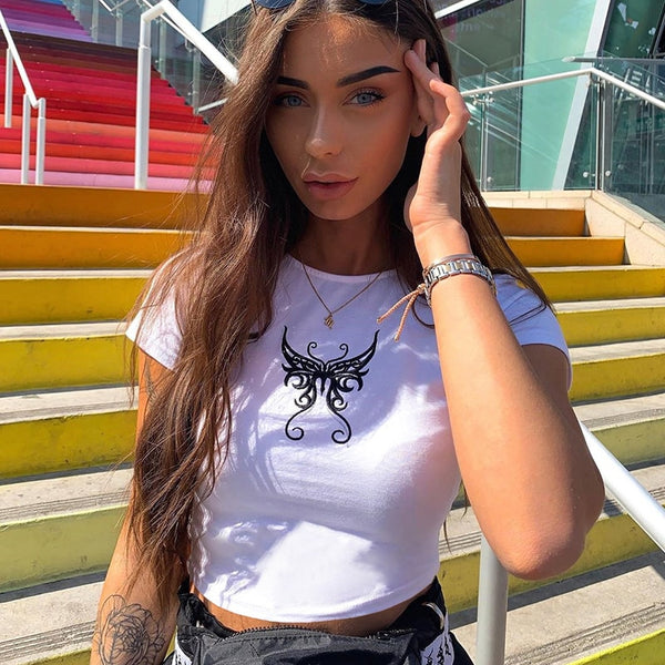 Tattooed Butterfly Cropped Tee
