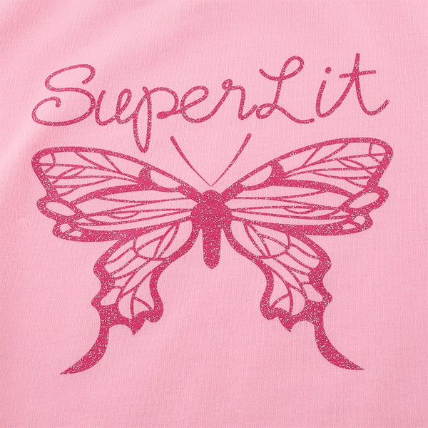 Pink Glittering Butterfly Cropped Tee