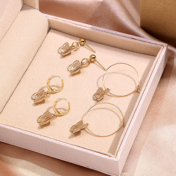 Dream Butterfly Hoops - Gold Plated