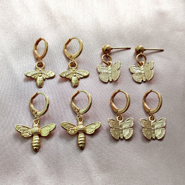 Be My Butterfly Earrings - Gold Pleated