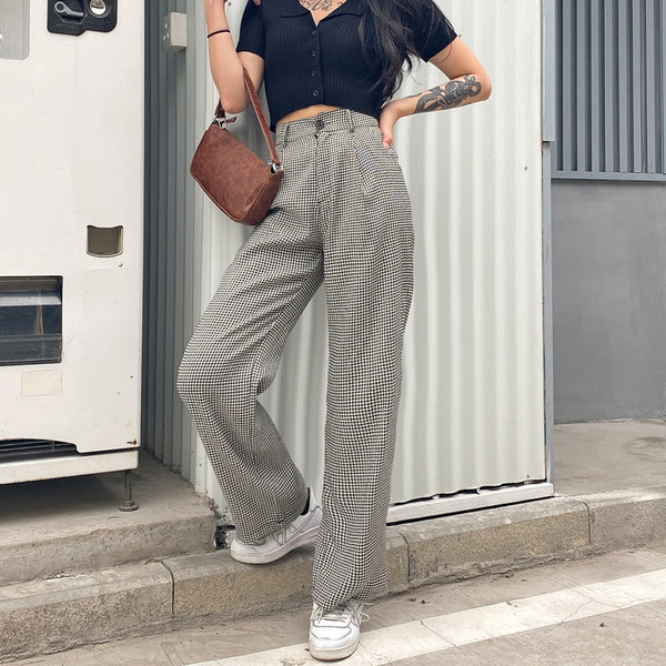 Mono Plaid Wide Leg Trousers