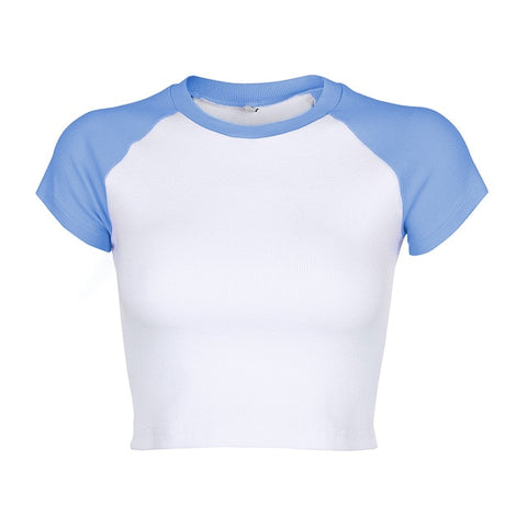 Mel Baseball Cropped Tee - Blue