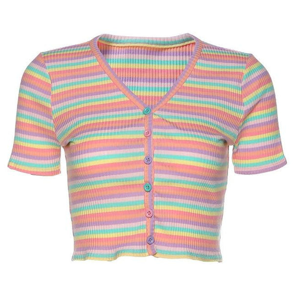 Pastel Striped Button Up Top