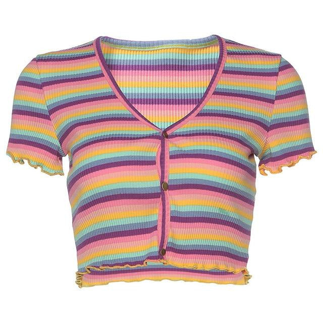 Self Love Striped Popper Front Crop Top