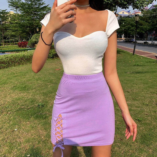 Lilac Lace Up Mini Skirt