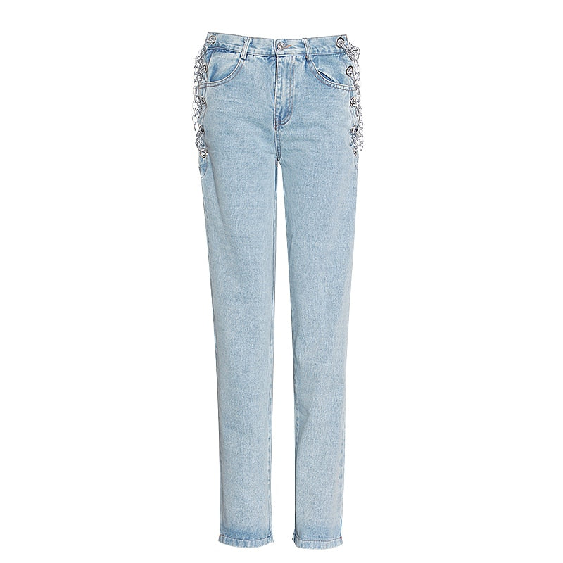 Amari Chained Light Wash Jeans