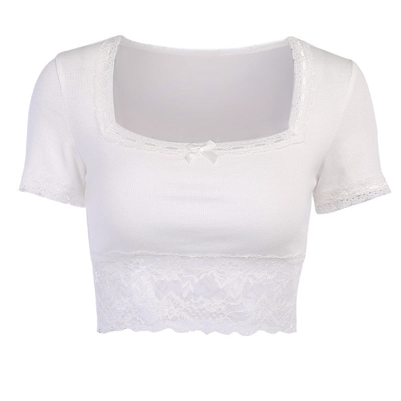 Fiona White Lace Trim Knit Top