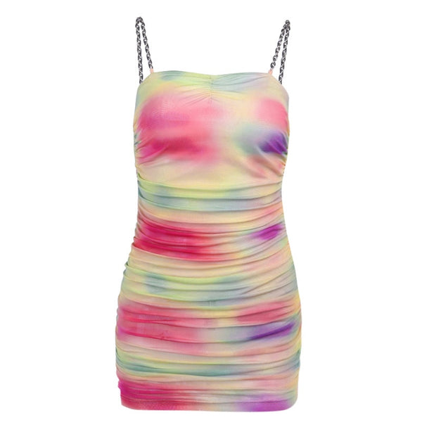Love Doll Tie Dye Mesh Bodycon Dress
