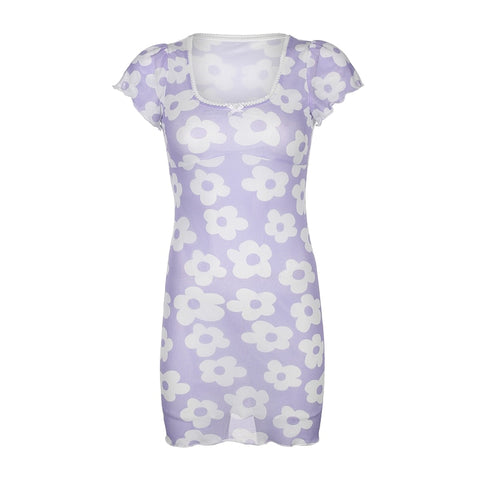 Fiona Lilac Daisy Overlay Dress