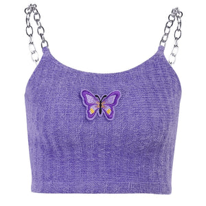 Lilac Butterfly Chained Fuzzy Crop Top