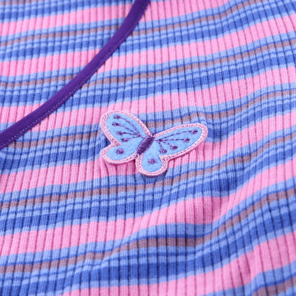 Striped Butterfly Zip Up Ribbed Top