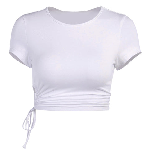 Gen White Tie Up Cropped T Shirt