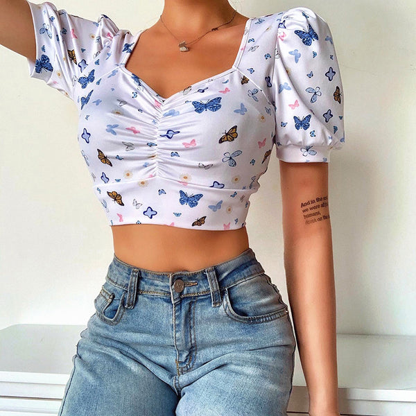 Paxie Butterfly Puff Crop Top