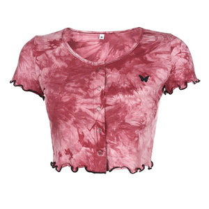 Heather Tie Dye Butterfly Crop Top In Burgundy