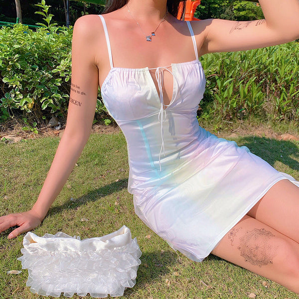 White Pastel Tie Up Mini Dress