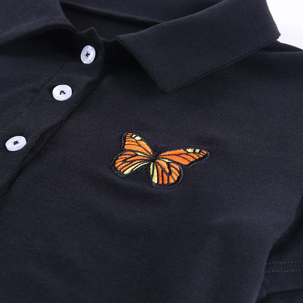 Black Butterfly Patch Button Up Shirt