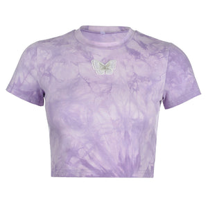 Lilac Tie Dye Butterfly Cropped Tee
