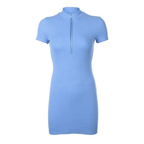 Blue Ribbed Zip Up Bodycon Dress