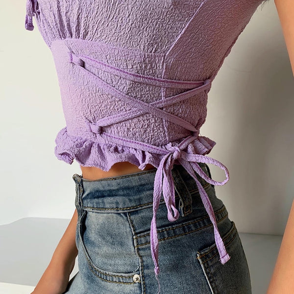 Lilac Lace Up Puff Crop Top