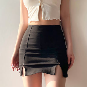 Black Slit Denim Mini Skirt