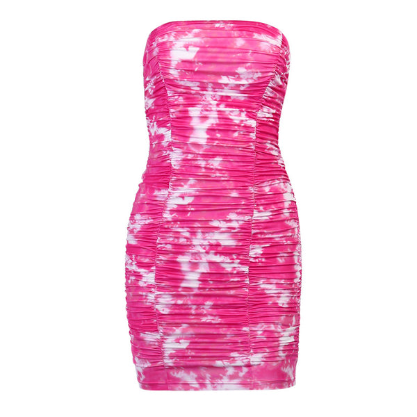 Pink Tie Dye Off Shoulder Bodycon Dress