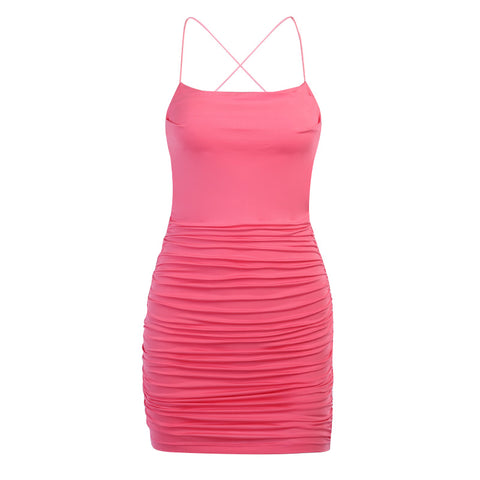 Blanche Pink Ruched Bodycon Dress