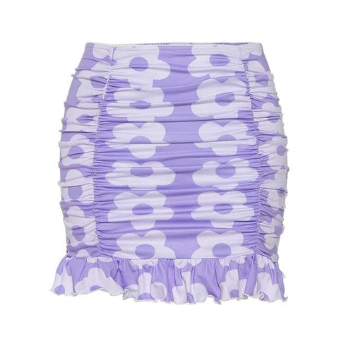 Fiona Lilac Floral Ruched Mini Skirt