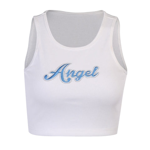 White Angel Embro Tank Top