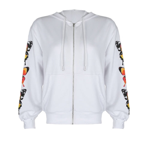 Madison Butterfly Print Hoodie - White