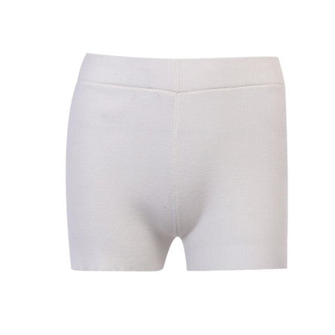 Gen White Ribbed Cropped Shorts